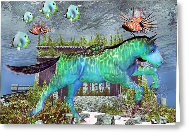 Calm Waters Mixed Media Greeting Cards - The Pony Express Greeting Card by Betsy C  Knapp