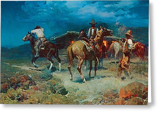 Express Paintings Greeting Cards - The Pony Express Greeting Card by Frank Tenney Johnson