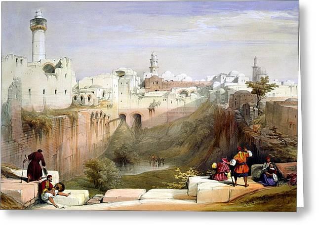 Judea Greeting Cards - The Pool  of Bethesda Jerusalem Greeting Card by Munir Alawi