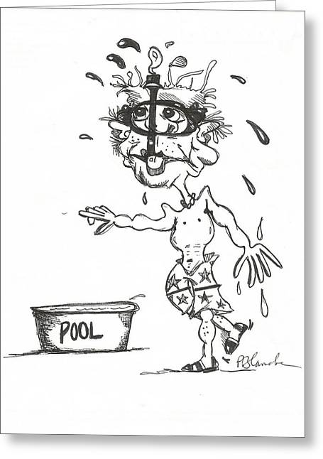 Snorkel Drawings Greeting Cards - The Pool Greeting Card by Philip Blanche