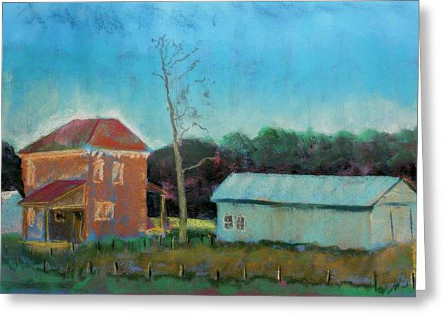 Brick Pastels Greeting Cards - The Poor Farm Greeting Card by Tim  Swagerle