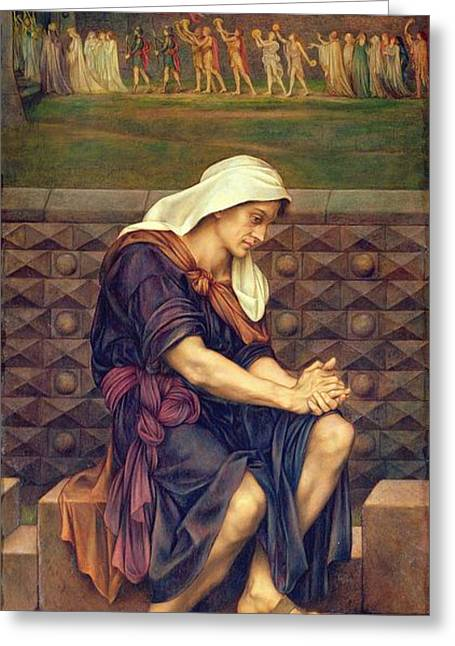 Impoverished Greeting Cards - The Poor Man who Saved the City Greeting Card by Evelyn De Morgan