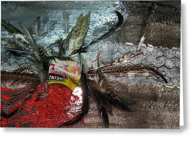Spaghetti Mixed Media Greeting Cards - The Poor Spaghetti Bird Has  Been TYRE _D . Greeting Card by Errol  Jameson