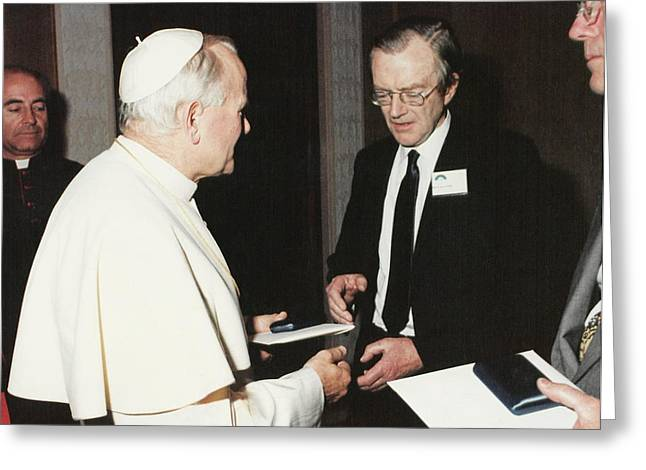 The Pope And Maurice Wilkins Greeting Card by King's College London Archives