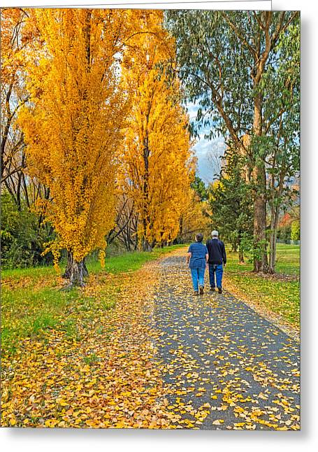 People In Autumn Greeting Cards - The Poplar Trail Greeting Card by Mark Lucey