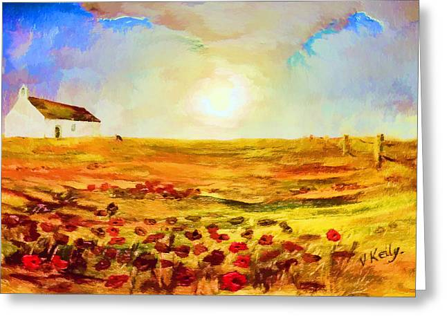Kelly Greeting Cards - The Poppy picker Greeting Card by Valerie Anne Kelly