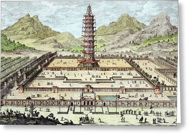 Pagoda Greeting Cards - The Porcelain Tower Of Nanking, Plate Greeting Card by Johann Bernhard Fischer von Erlach
