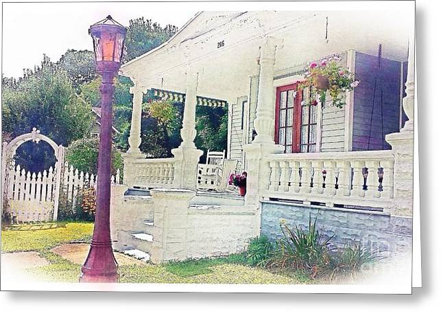 White Pyrography Greeting Cards - The Porch Lamp Post and The Gate Greeting Card by Becky Lupe