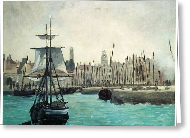 Sailboats In Harbor Paintings Greeting Cards - The Port at Calais Greeting Card by Edouard Manet