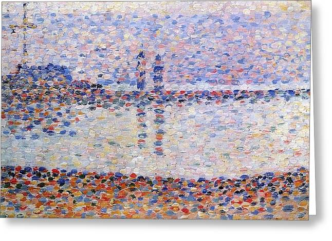 Seurat Greeting Cards - The Port at Gravelines Greeting Card by Georges Seurat