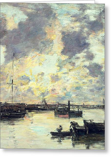 Grey Clouds Greeting Cards - The Port Greeting Card by Eugene Louis Boudin