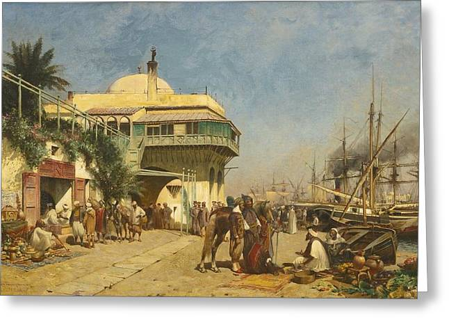 Jihad Greeting Cards - The Port Of Algiers Greeting Card by Alfred Wordsworth Thompson