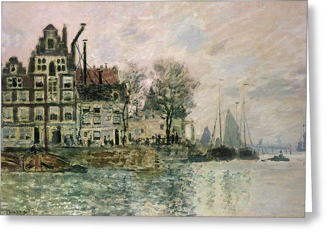 Impressionist Greeting Cards - The Port Of Amsterdam, C.1873 Greeting Card by Claude Monet