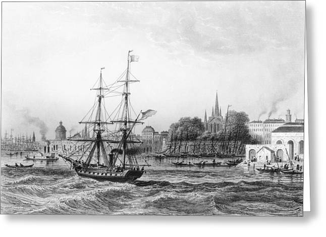 Sailing Ship Greeting Cards - The Port Of New Orleans Engraving Bw Photo Greeting Card by Charles de Lalaisse