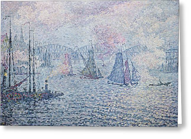 The Port Of Rotterdam, Or The Fumes Greeting Card by Paul Signac