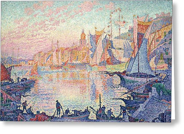 Saint-tropez Greeting Cards - The Port of Saint-Tropez Greeting Card by Paul Signac