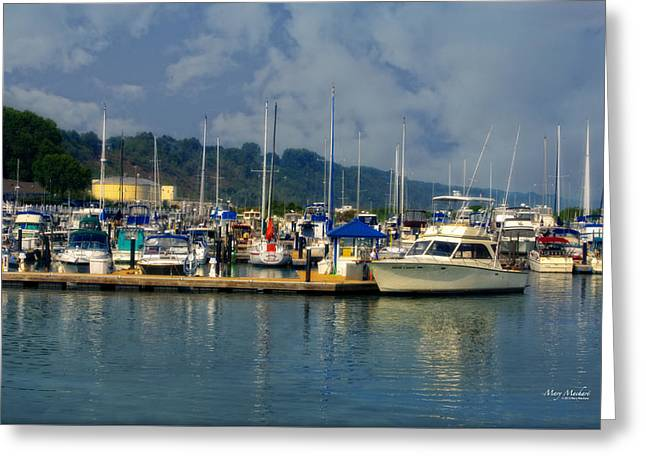Wisconsin Fishing Greeting Cards - The Port Washington Marina 2 Greeting Card by Mary Machare