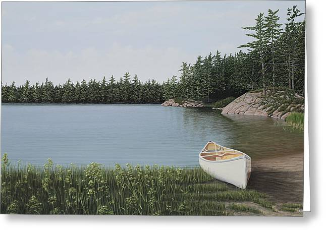 Canoe Greeting Cards - The Portage Greeting Card by Kenneth M  Kirsch