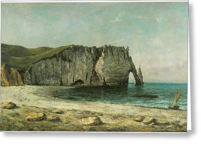 Best Sellers -  - Cliffs Over Ocean Greeting Cards - The Porte dAval at Etretat Greeting Card by Gustave Courbet