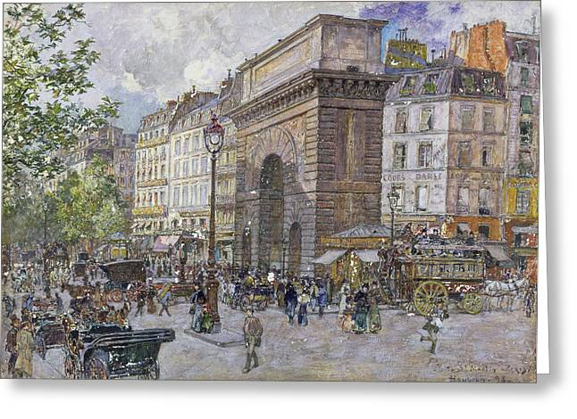 Omnibus Greeting Cards - The Porte Saint-martin, 1898 Oil On Board Greeting Card by Frederic Anatole Houbron