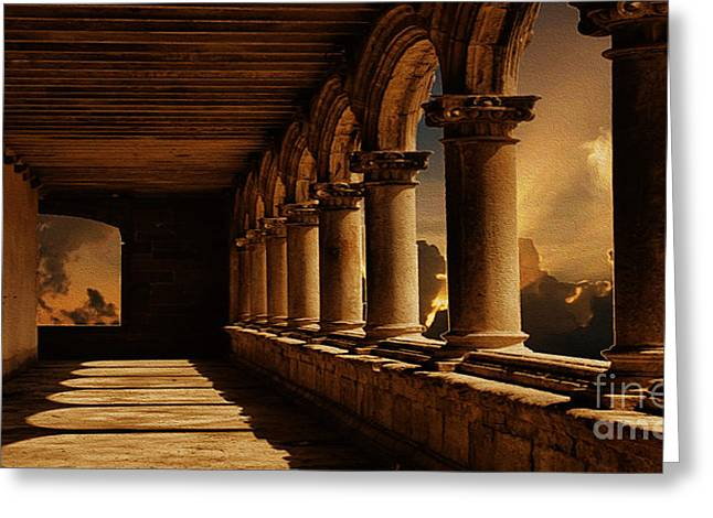 Fantasy World Greeting Cards - The Portico Greeting Card by Cheryl Young