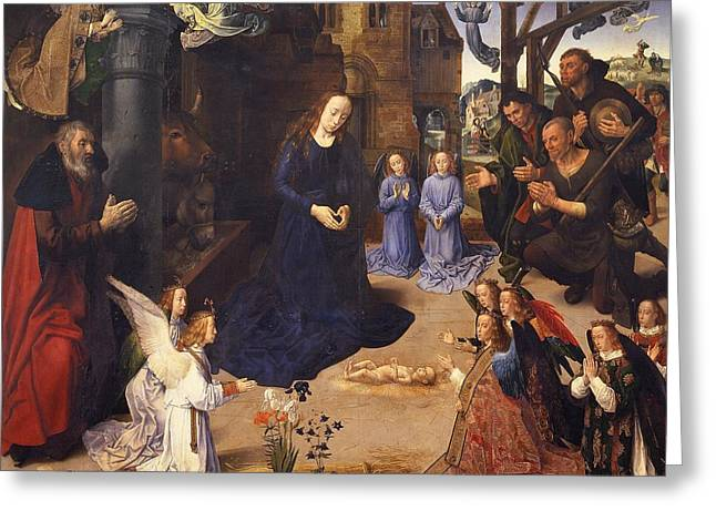 The Uffizi Greeting Cards - The Portinari Triptych Greeting Card by Hugo van der Goes