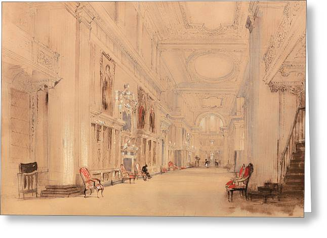 Historic England Drawings Greeting Cards - The Portrait Gallery at Hardwick Hall Derbyshire Greeting Card by David Cox