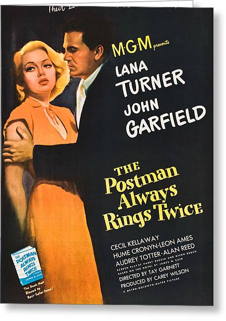 1946 Movies Greeting Cards - The Postman Always Rings Twice - 1946 Greeting Card by Nomad Art And  Design