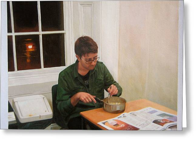 Savant Paintings Greeting Cards - The Potato Eater A Night in a student Flat Greeting Card by Ross Van Gogh