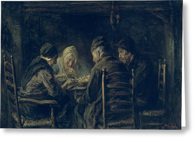 Dinner Paintings Greeting Cards - The Potato Eaters, 1902 Greeting Card by Jozef Israels