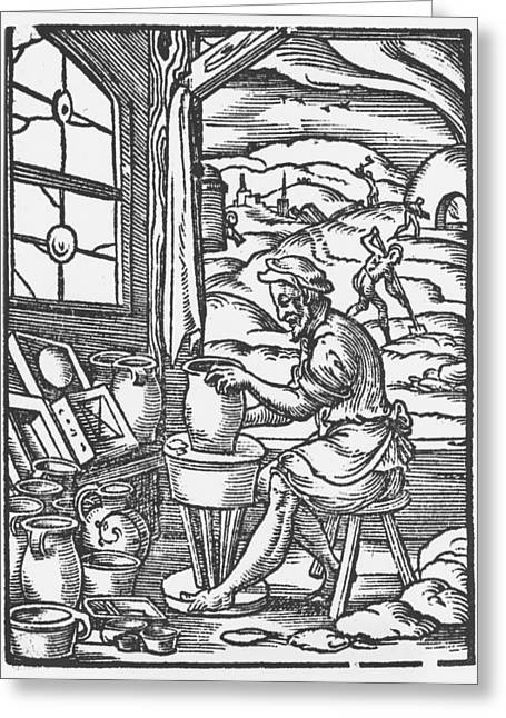 Craft Worker Greeting Cards - The Potter, 1574 Woodcut Bw Photo Greeting Card by Jost Amman