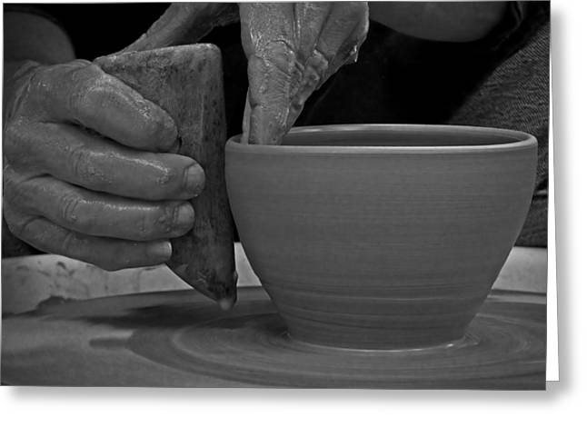Potter And Clay Greeting Cards - The Potters Hands Greeting Card by Lucinda Walter
