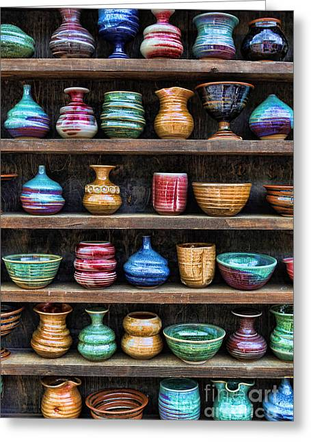 Pottery Wheel Greeting Cards - The Potters Shelf Greeting Card by Lee Dos Santos