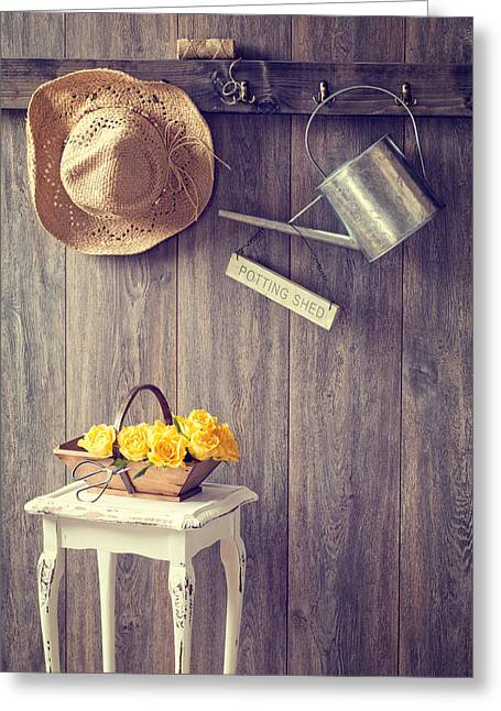 Old Hat Greeting Cards - The Potting Shed Greeting Card by Amanda And Christopher Elwell