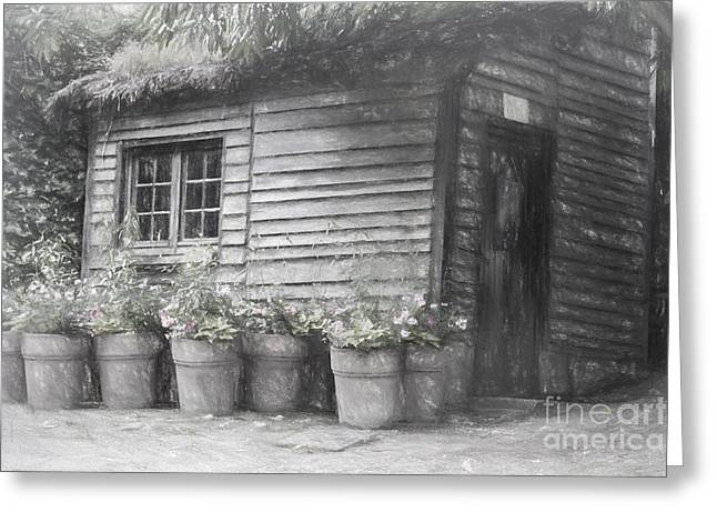 Shed Digital Art Greeting Cards - The Potting Shed Greeting Card by Elaine Teague