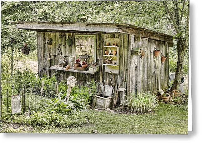 The Potting Shed Greeting Card by Heather Applegate