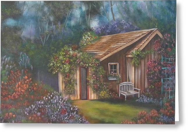 Shed Paintings Greeting Cards - The Potting Shed Greeting Card by Terry Boulerice