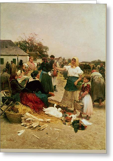 The Poultry Market Greeting Card by Lajos Deak Ebner