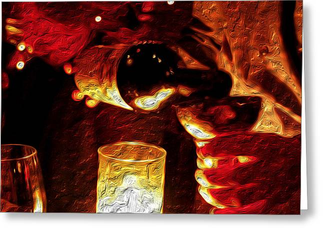 Wine Pour Paintings Greeting Cards - The Pour Greeting Card by Rick Smith