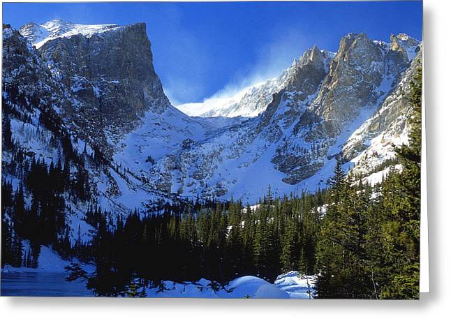 Blowing Snow Greeting Cards - The Power and the Glory Greeting Card by Eric Glaser