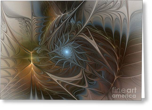 Subtile Greeting Cards - The Power Inside-Abstract Fractal Art Greeting Card by Karin Kuhlmann