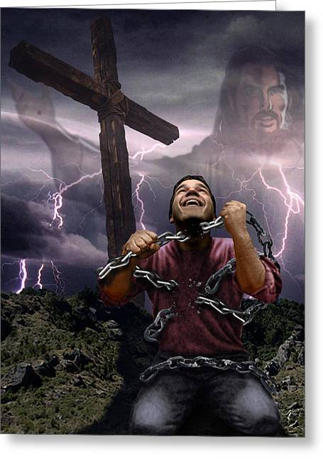 Born Again Digital Greeting Cards - The Power of Christ Greeting Card by Joseph Juvenal