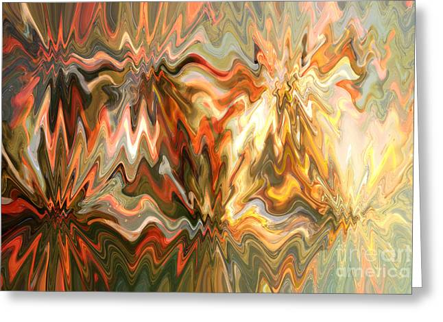 Abstract Waves Greeting Cards - The Power of Light Greeting Card by Carol Groenen