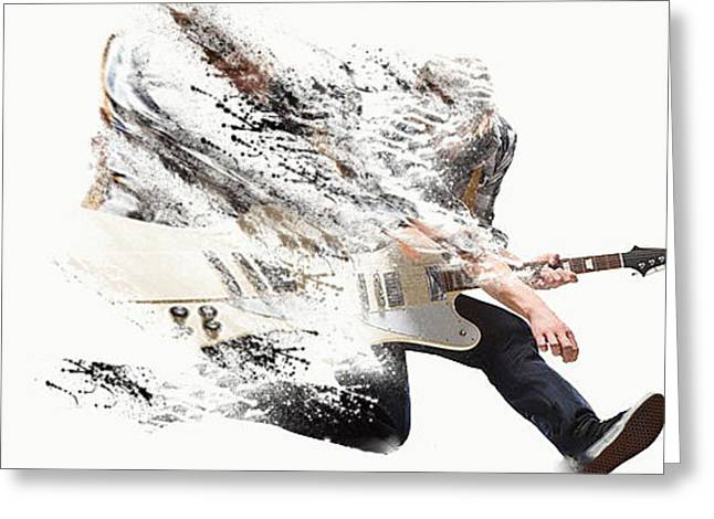 Player Pyrography Greeting Cards - The Power Of Music Greeting Card by Designer Look