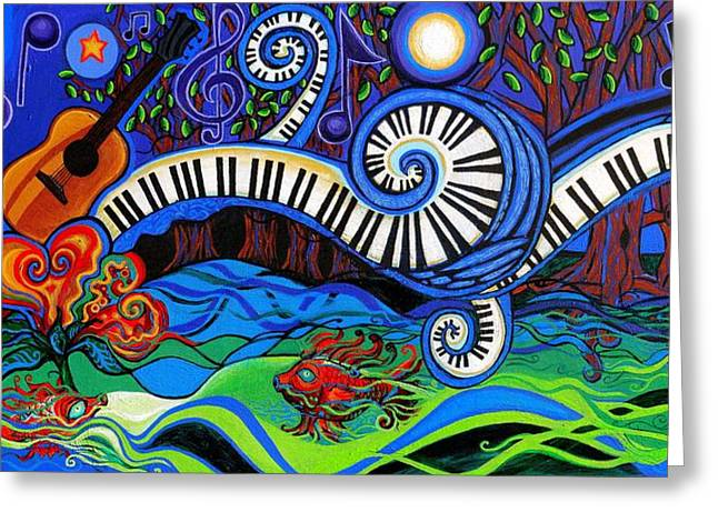 Yellow Flowers Stretched Prints Greeting Cards - The Power Of Music Greeting Card by Genevieve Esson