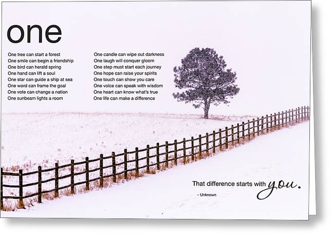 The Power Of One Greeting Card by Teri Virbickis