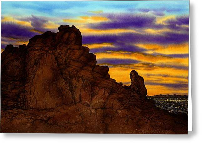 Camelback Mountain Greeting Cards - The Praying Monk Arizona Greeting Card by John YATO