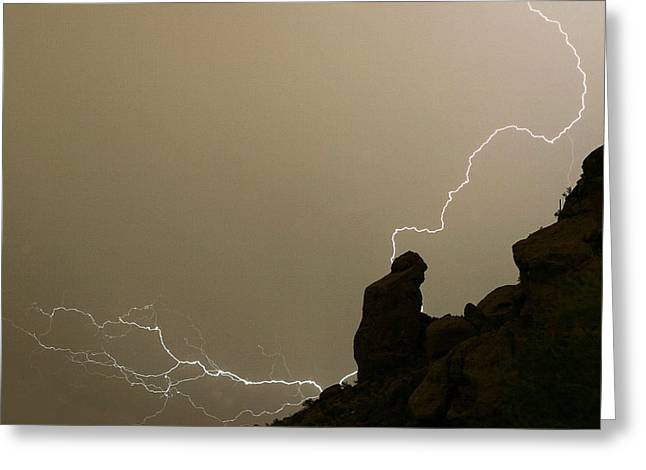 Camelback Mountain Greeting Cards - The Praying Monk Lightning Strike Greeting Card by James BO  Insogna
