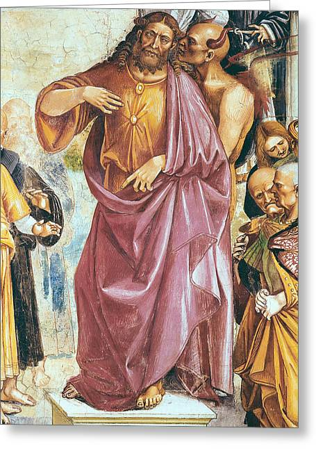 Gospel Greeting Cards - The Preaching of the Antichrist Greeting Card by Luca Signorelli