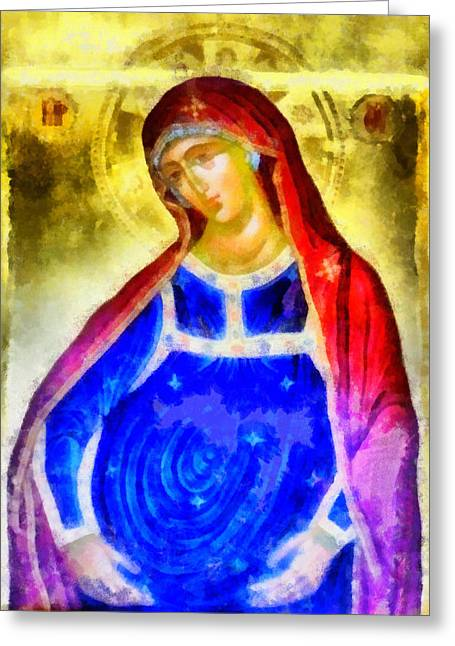Recently Sold -  - Byzantine Greeting Cards - The Pregnant Lady Greeting Card by George Rossidis